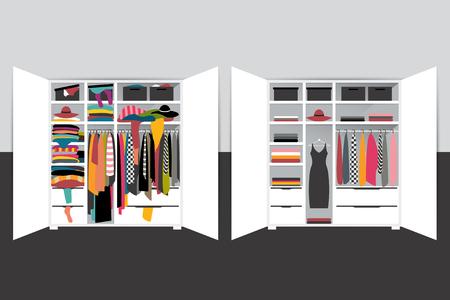 Kapsułowa minimalistyczna szafa kontra szafa przepełniona ubraniami. Ilustracja kreskówka wektor.