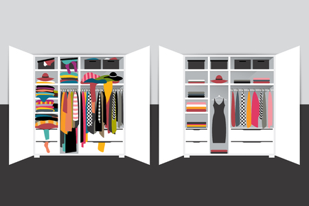 Capsule minimalistic wardrobe versus closet overflowing with clothes. Vector cartoon illustration.