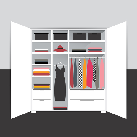 Capsule minimalistic wardrobe. Vector cartoon illustration.  Illustration