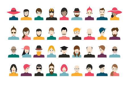 People avatar set. Man, woman collection. Stylized faces in flat cartoon style. Vector.