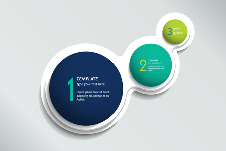 Three steps elements bubble chart, scheme, diagram, template. Infographic template.
