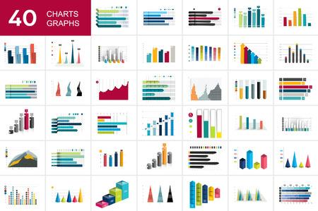 Grande insieme di charst, grafici. Colore blu. Elementi di affari di infografica. Vettoriali