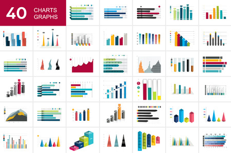 Big set of charst, graphs. Blue color. Infographics business elements.