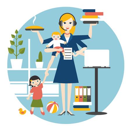 Femme multitâche. Mère, femme d'affaires avec bébé, enfant plus âgé, travaillant, cuisinant et appelant. vecteur plat.