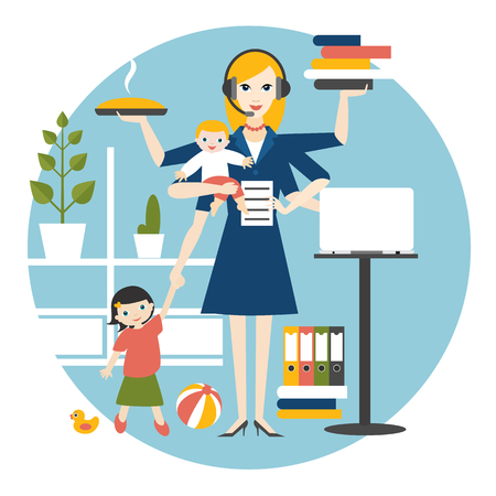 Multitask woman. Mother, businesswoman with baby, older child, working, coocking and calling. Flat vector. Stock Vector - 121795094