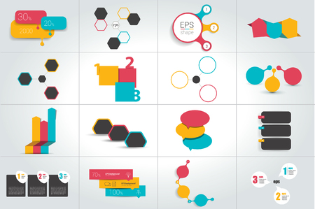Infographics with 3 options. Big set. Vector template.