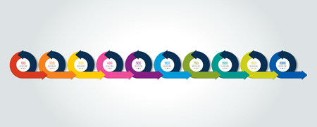 Timeline Infographic. Ten circle arrows template, diagram, chart. Illustration