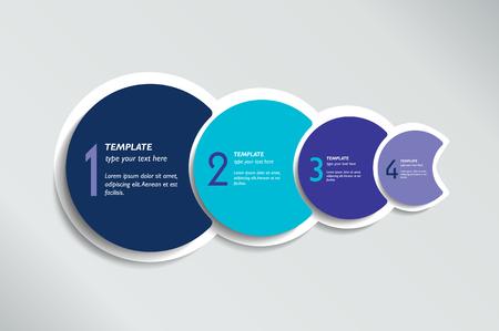 Vier Schritte Elemente Blasendiagramm, Schema, Diagramm, Vorlage. Infografik-Vorlage.