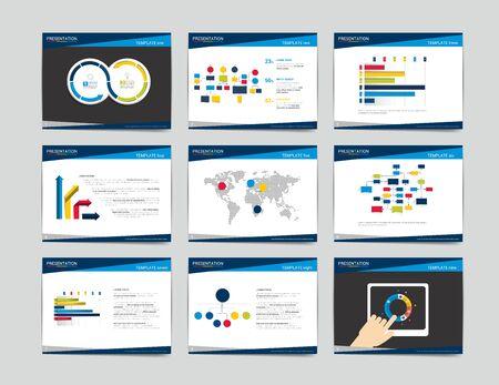 9 plantillas de presentación de negocios. Infografía para folleto, póster, diapositiva, revista, libro, folleto, sitio web, impresión.