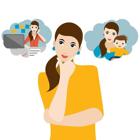 Woman choosing between family life with children or bussines career. Hard choice, dilemma, search of life balance. Flat vector.