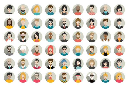 Mega set of circle persons, avatars, people heads  different nationality in flat style. Vector. Stock fotó - 133489883
