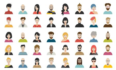 Mega set of persons, avatars, people heads  different nationality in flat style. Vector. Archivio Fotografico - 133489884