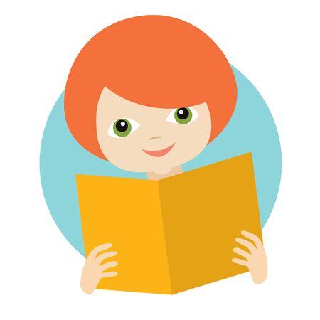 Child, kid reading a book. Flat vector. Ilustração