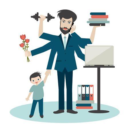Vielbeschäftigter Multitasking-Mann, Vater, Papa, Papa, romantischer Ehemann, Geschäftsmann, Arbeiter. Junger Mann mit Sohn, der im Fitnessstudio arbeitet, ruft und trainiert. Flacher Vektor.