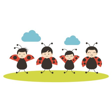 Four cartoon ladybirds on white background. Flat vector. Child design.
