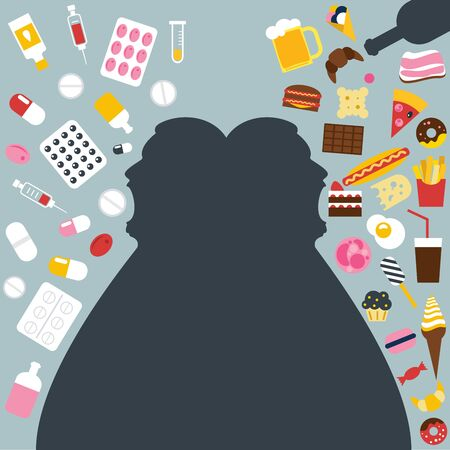 Unhealthy eating, overating, surfeit. Fat man eating medicament, curing. Bad digestion. Vector illustration. Ilustracja