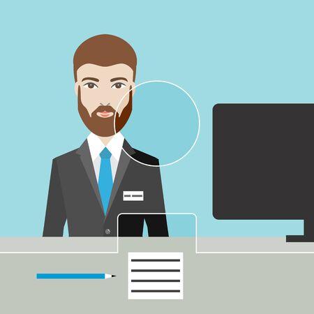 Man man clerk in a bank. Flat vector.