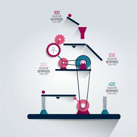 Infographic, working machine, graph, chart, scheme. Illustration