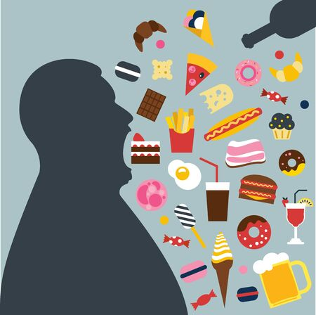 Fat man eating a lot of unhealthy food. Overating, surfeit. Vector illustration.