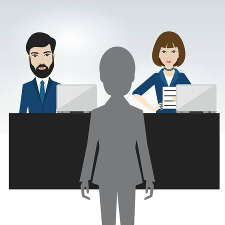 Job interview in office. Officers and candidate. Flat vector ilustration. Vectores