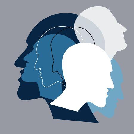 Schizophrenia concept, symbol of depresion, dementia. Vector ilustration.  Illustration
