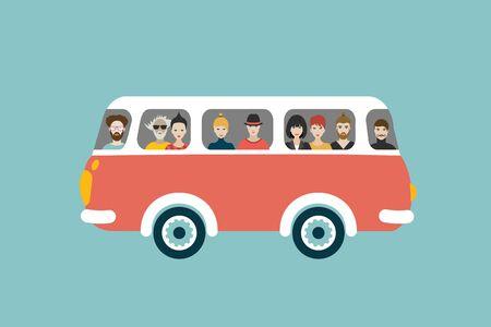 Bus retro illustration with passengers. Flat vector concept.