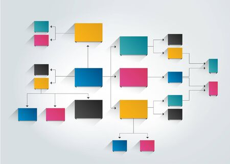 Infographics flowchart. Colored shadows scheme. Vektorgrafik