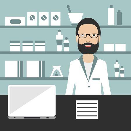 Pharmacy chemist standing in drugstore. Flat vector. Vektorgrafik
