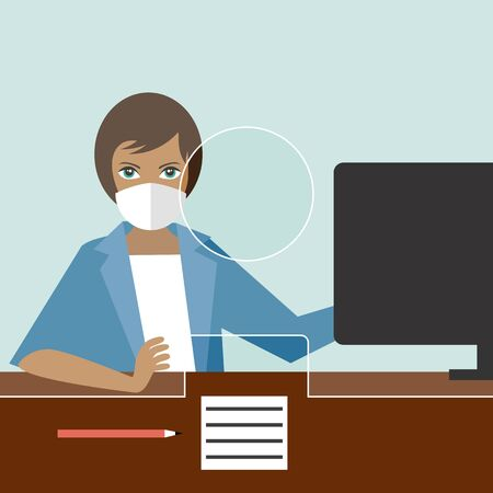 Business woman in the office wear mask to prevent corona virus. Flat vector.
