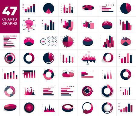 Mega set of charst, graphs. Blue color. Infographics business elements. Иллюстрация