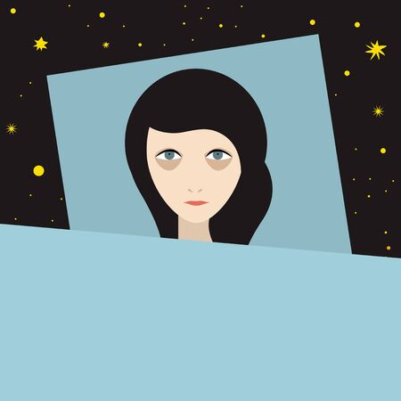 Woman with sleep problems and insomnia symptoms. Flat  illustration.