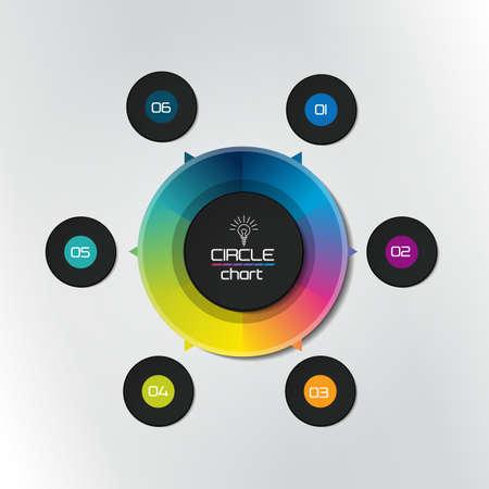Circle infographic chart, diagram, scheme. Ilustracje wektorowe