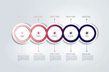 Timeline scheme. Circle connected 3D infographic. Vector template.
