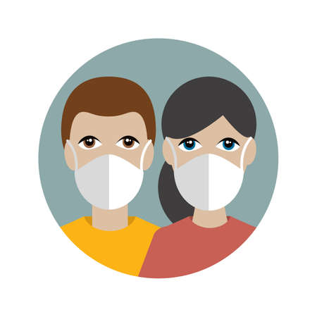 People in a mask protecting against corona virus, covid 19. Couple of white skin. Flat vector icon.