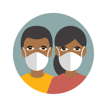 People in a mask protecting against corona virus, covid 19. Couple of dark skin. Flat vector icon.