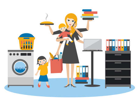 Multitask woman. Mother, businesswoman with baby, older child, working, coocking and calling. Flat vector. Banco de Imagens