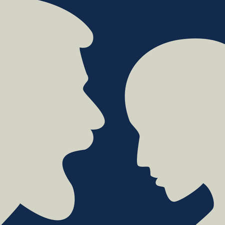 Man aggresive shouting, screaming at woman. Domestic violence. People profile heads. Vector background.