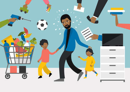 Black multitasking man. Father, Businessman with children, working, shopping and playing with kids.