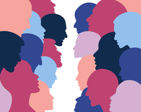 People profile heads. Seamless pattern of a crowd of many different people profile heads. Vector background.
