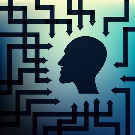 Human head with arrows symbolizing information, data, mathematical symbols.