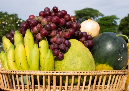 consumable: The rattan  basket  of  fruits