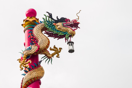 respectful: Golden  chinese  dragon  in northeast of Thailand