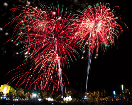 Fireworks celebration for the king�s birthday in Thailand. photo