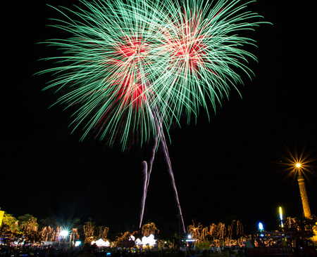 Fireworks celebration for the king's birthday in Thailand.