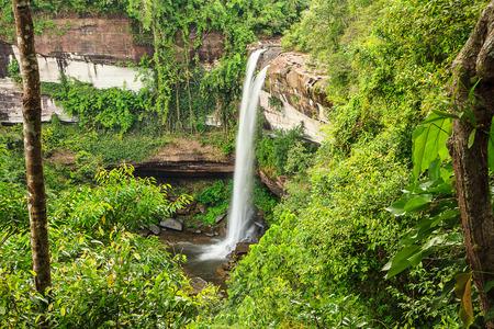rains: Beautiful waterfall in nation park,Thailand.