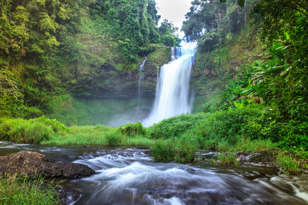 waterfalls: Tad - E - Too  the beautiful  forest waterfall in the southern  of Laos.