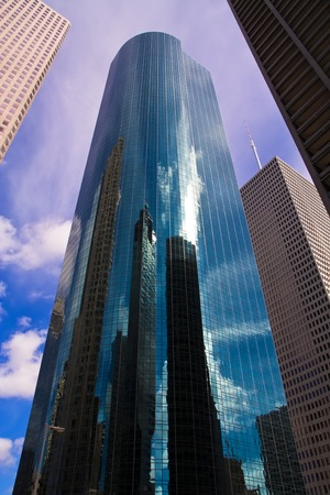 Wells Fargo Plaza, skyscraper in Houston, Texas, surrounded by other office buildings