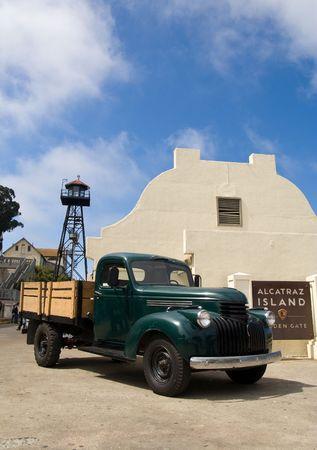 A historic truck on the Alcatraz island, former prison, in San Francisco bay photo