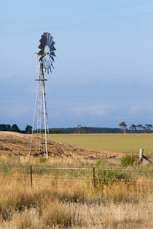 new south wales: Wind powered water pump for irrigation of a farm field in New South Wales, Australia