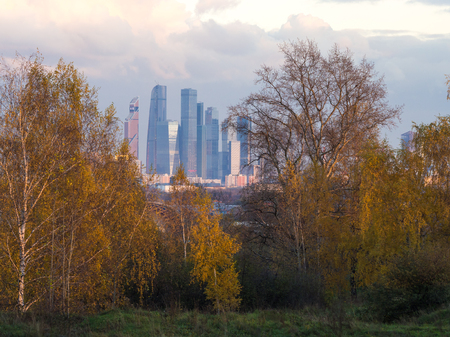 View on Moscow City business district through dense autumn trees in Moscow, Russia